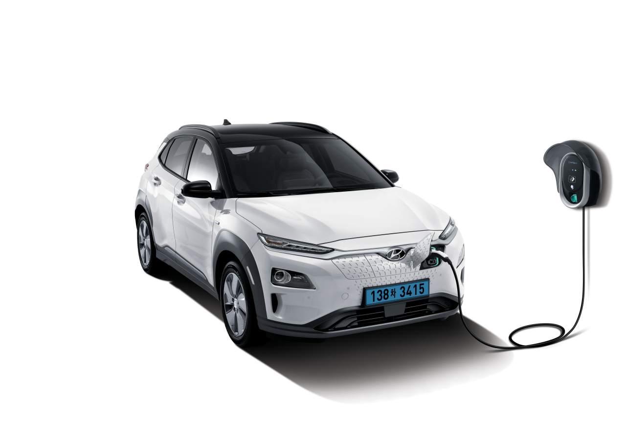 Hyundai kona cargando coche electrico